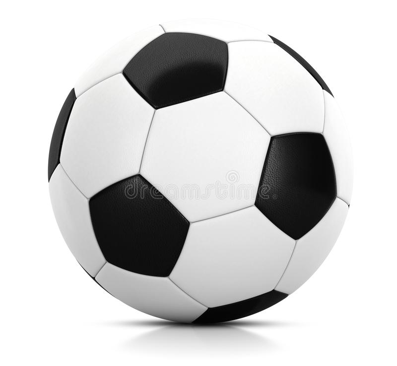 Classic soccer ball in studio with white background 3D illustration. 3D illustration of Classic soccer ball in studio with white background stock illustration