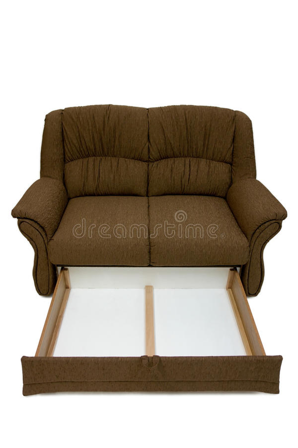 Classic sofa. Using classic design, completely covered with high quality brown textile. Including box for linen. Two places for sitting stock images