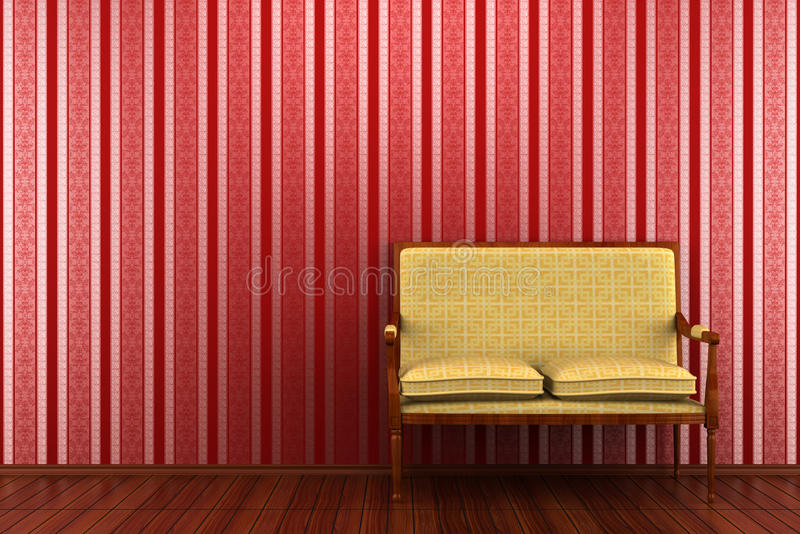 Classic sofa in front of red striped wall stock images
