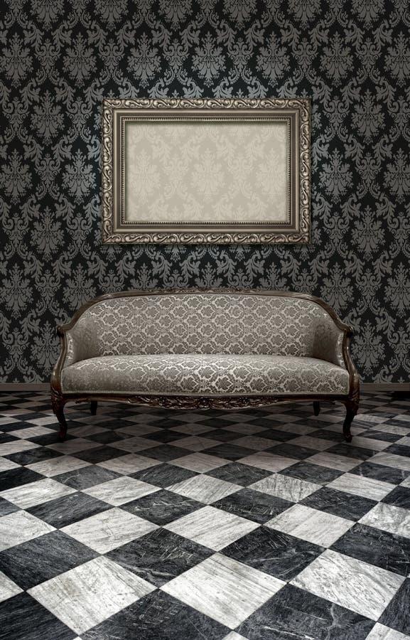 Classic Sofa On Marble Floor Royalty Free Stock Photo