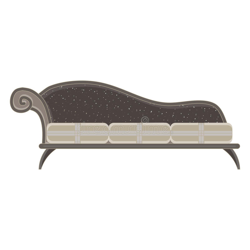 Classic sofa monochrome flat in gray color theme. Illustration object stock illustration