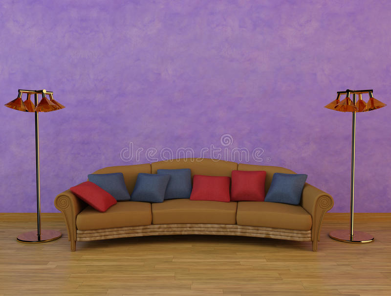 Download Classic Sofa With Two Lamps Stock Photo - Image: 15252740