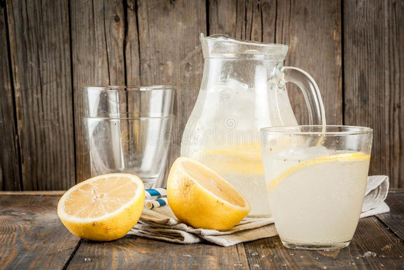 Classic sour and sweet homemade lemonade drink, summer cold iced royalty free stock photo