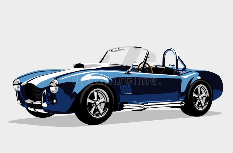 Classic sport blue car AC Shelby Cobra Roadster vector illustration