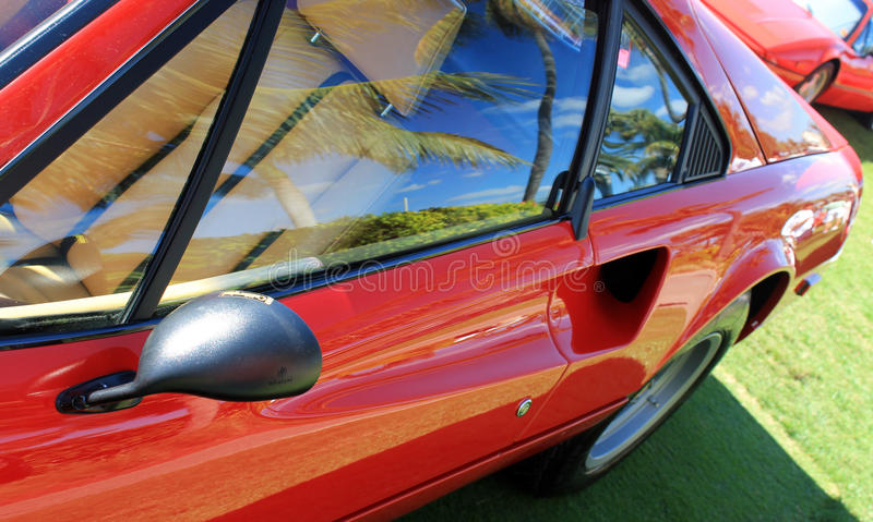 Classic sports car door at an angle. Showing engine air intake and door handle royalty free stock image