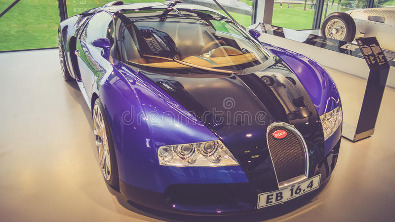Classic sports car in showroom stock image