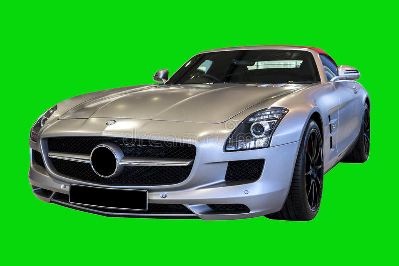 Classic Sports Car SLS AMG Roadster 2012. Sports Car SLS AMG Roadster 2012 model isolated on a green background stock photos