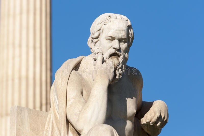 Classic statue Socrates. Classical statue of Socrates in front of a column royalty free stock image