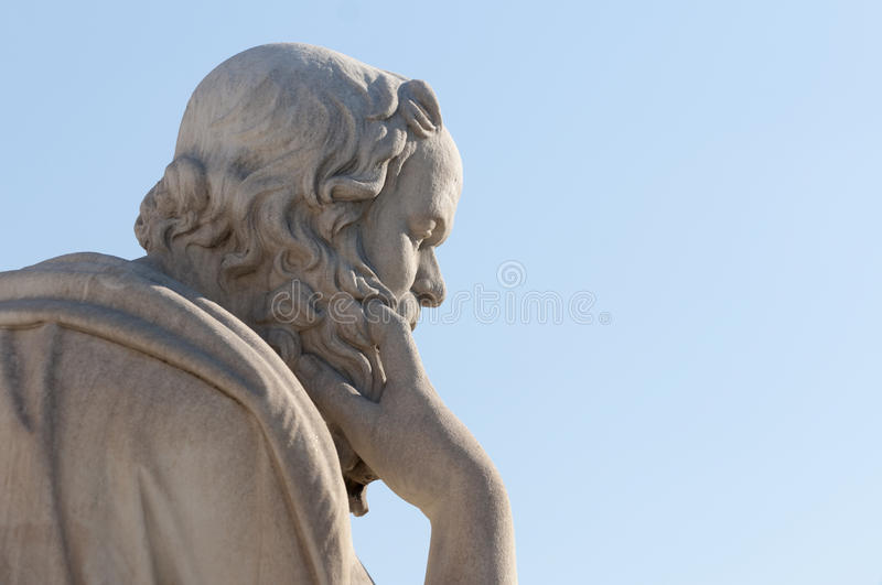 Classic statue Socrates. Classical statue of Socrates from side close up stock photo
