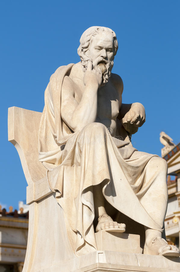 Classic statue Socrates. Classical statue of Socrates sitting royalty free stock photography