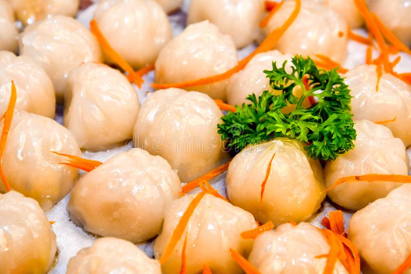 Steamed Crystal Skin Dumplings. Classic steamed dumplings were then served in traditional bamboo steamers, starting with the Steamed Crystal Skin Shrimp royalty free stock image