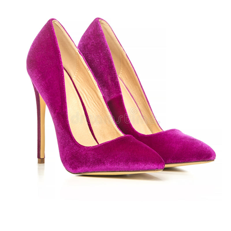 Classic stiletto high heels shoes in pink suede. /velvet. PLEASE NOTE: this is a no-name product from a chinese outdoor-market and not a branded designer product royalty free stock images