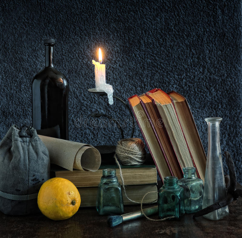 Download Classic Still Life With Candle Stock Photo - Image: 14406378