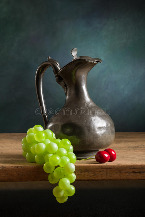 Classic still life with fruit stock photo