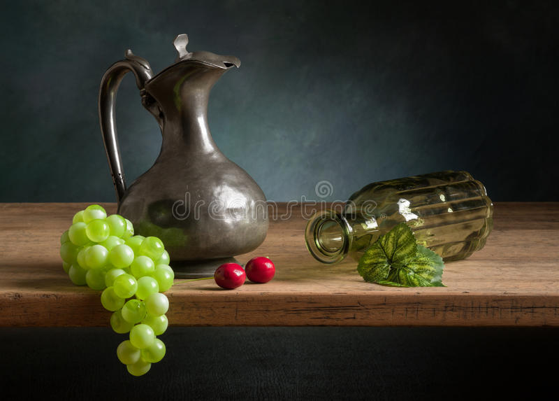 Classic still life with fruit stock photos