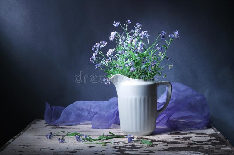 Classic still life jug with blue flowers forget me not decorative picture. Art Photography. Greeting card. Text free space. Blue b royalty free stock photo