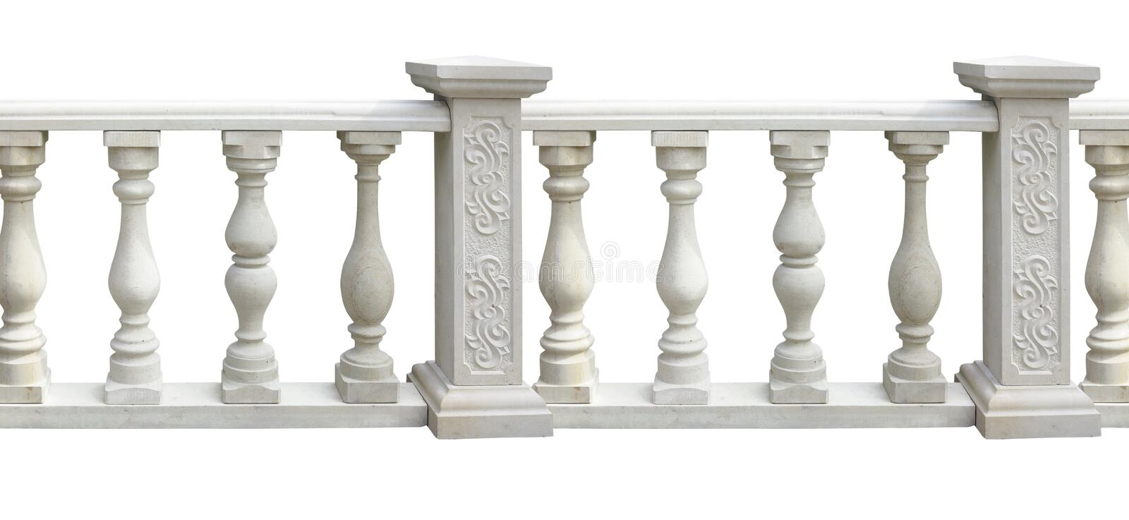 Classic stone balustrade with column isolated over white stock illustration