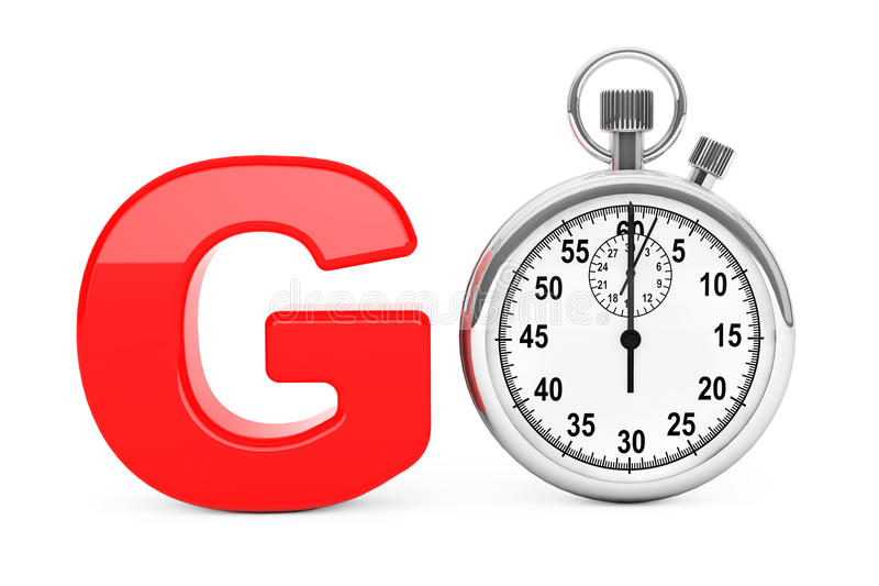 Classic Stopwatch as Red Go Sign. 3d Rendering royalty free illustration