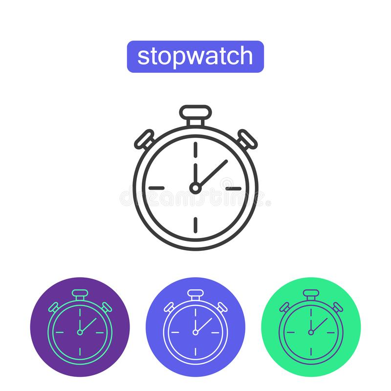 Classic stopwatch outline icons set. stock illustration