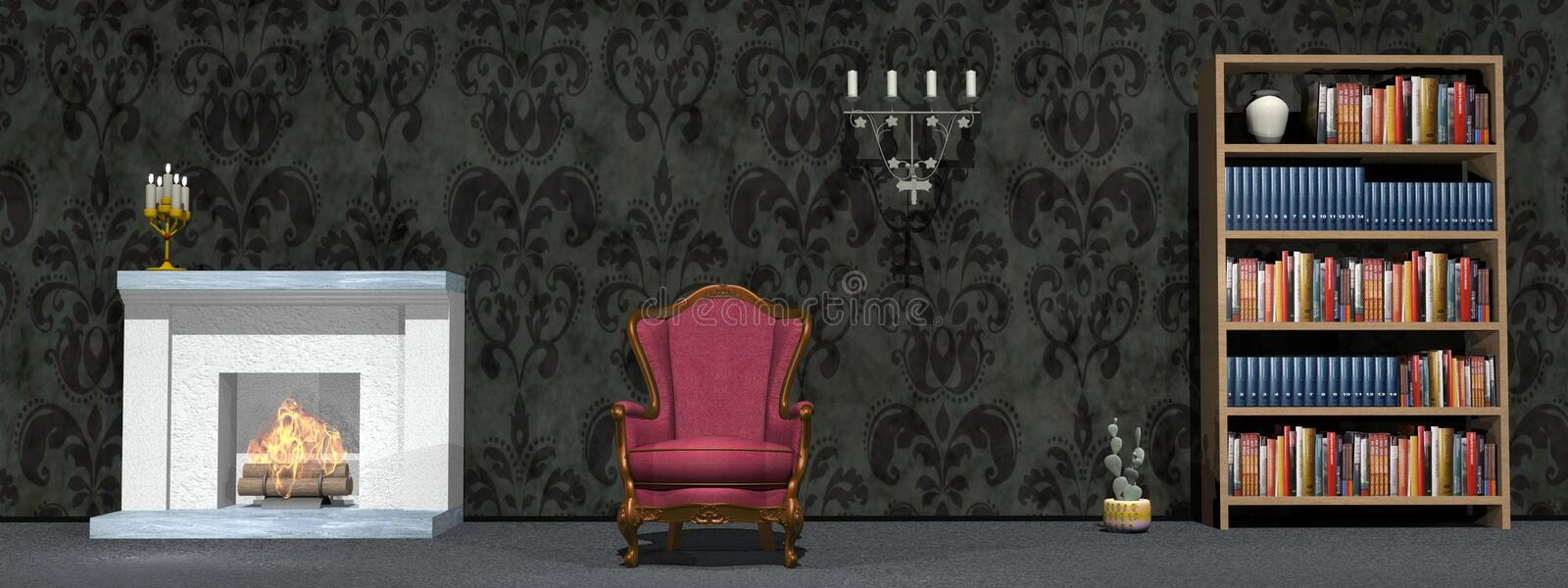 Classic study room - 3D render. Dark cabinet with fire place, vintage char, library vector illustration