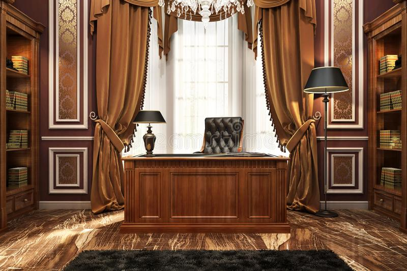 Beautiful cabinet and library in classic style stock image