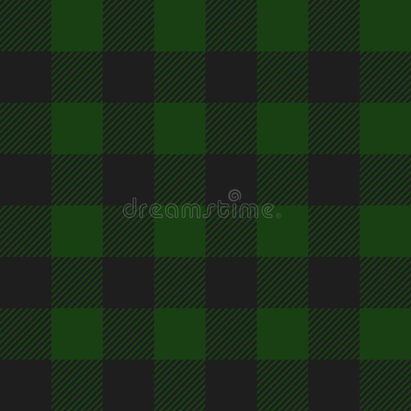 Green and Black Buffalo Check Plaid Seamless Pattern stock illustration