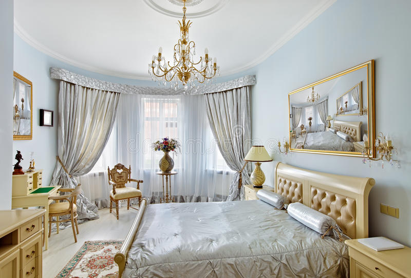 Download Classic Style Luxury Bedroom Interior In Blue Stock Image - Image: 17962081