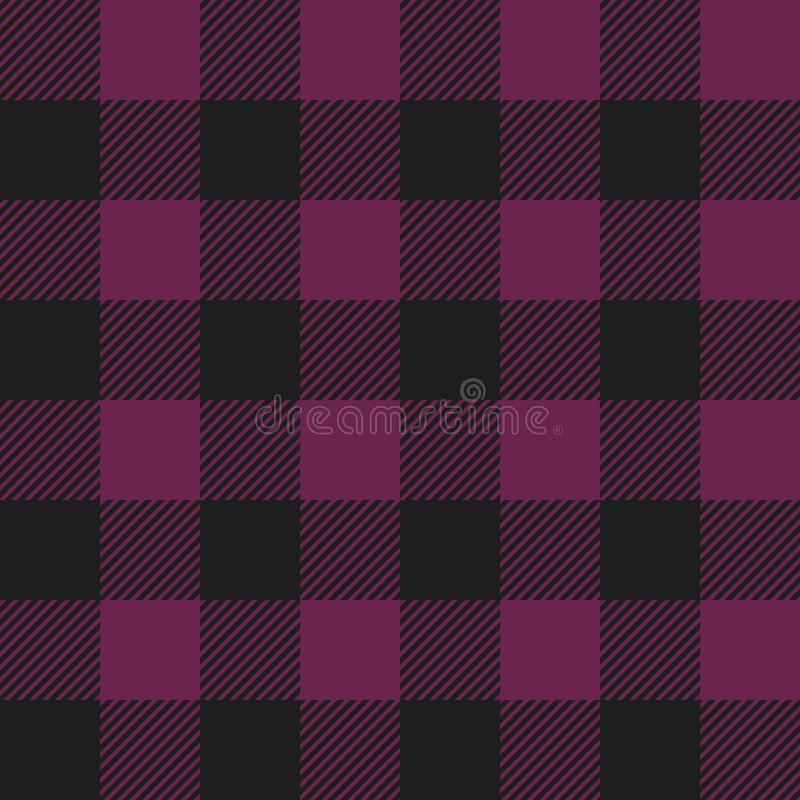 Magenta and Black Buffalo Check Plaid Seamless Pattern vector illustration