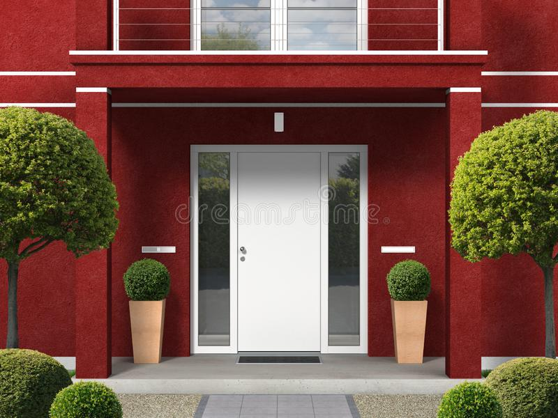 Classic style maroon house facade with entrance portal and front door. Classic style maroon house facade with entrance portal, balcony, pillars and front door royalty free illustration