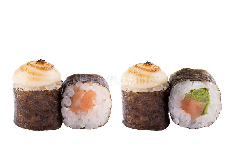 Classic sushi roll. Sushi at white background. Japanese seafood sushi , roll a white background. Close-up stock photography