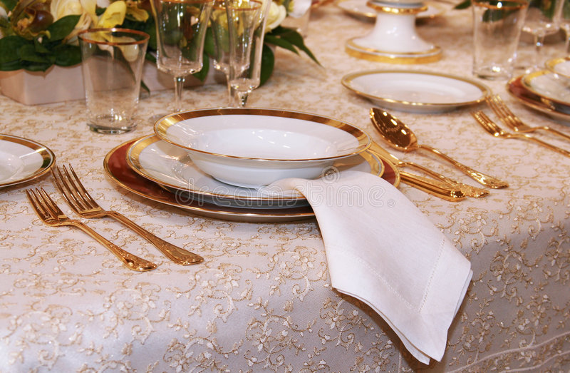 Classic table setting stock images