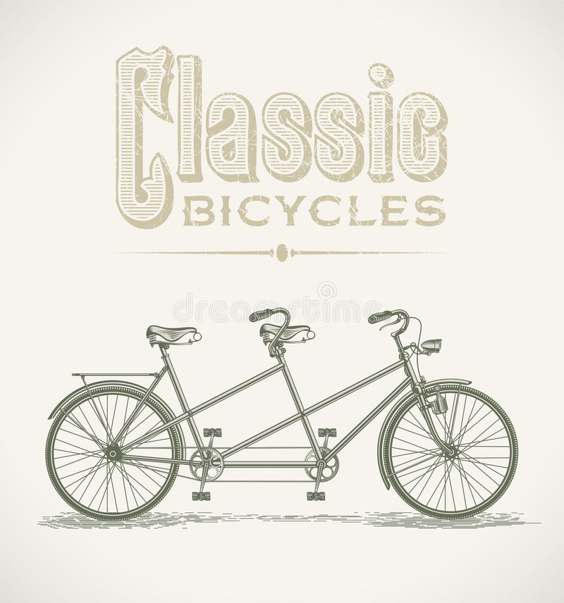 Classic tandem bicycle vector illustration