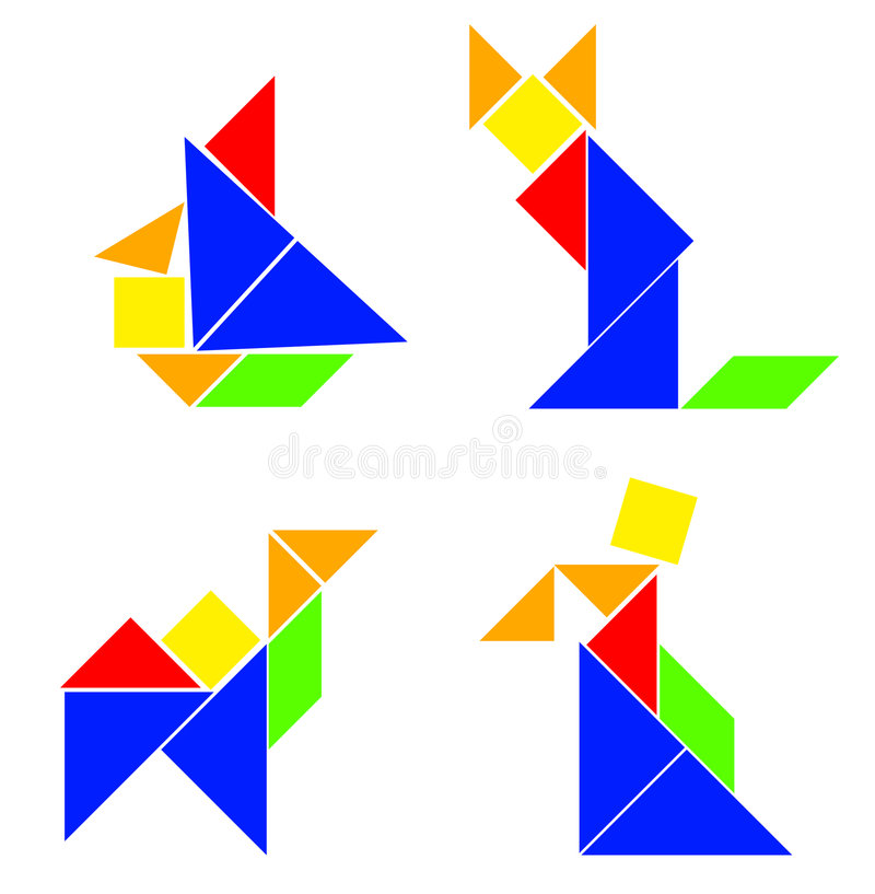 Classic Tangram - Various Compositions. There are some classic tangram compositions. The ship, the cat, the camel and the man vector illustration