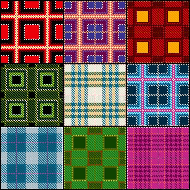 Classic tartan, british traditional stripe, plaid vector seamless patterns set royalty free illustration