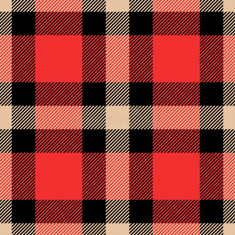 Classic tartan and buffalo check plaid seamless patterns. Vector eps 10 royalty free illustration