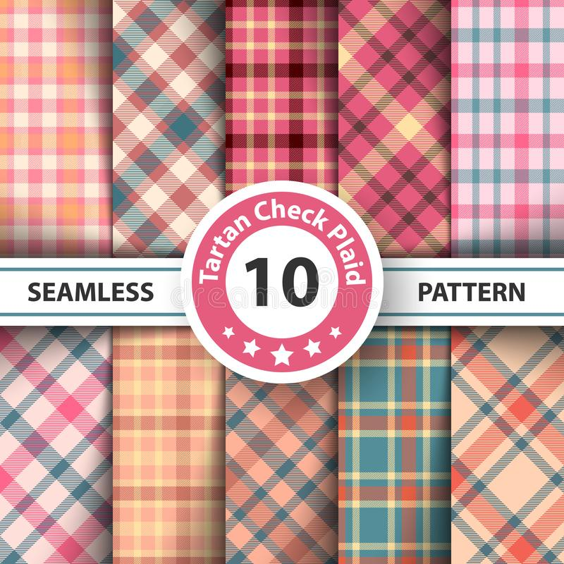 Classic tartan, Picnic tablecloth, Gingham, Buffalo, Lamberjack, Merry Christmas check plaid seamless patterns. royalty free illustration