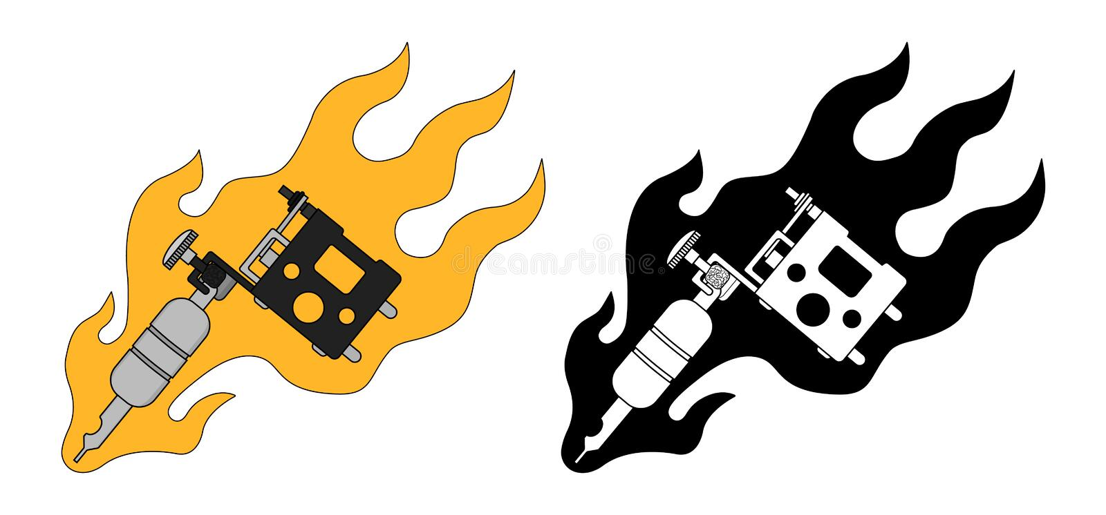 classic tattoo machine in flame color silhouette stock vector rh dreamstime com
