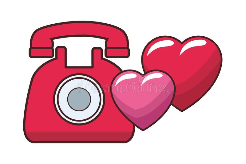 Classic telephone cartoon. Classic telephone with hearts cartoon vector illustration graphic design stock illustration