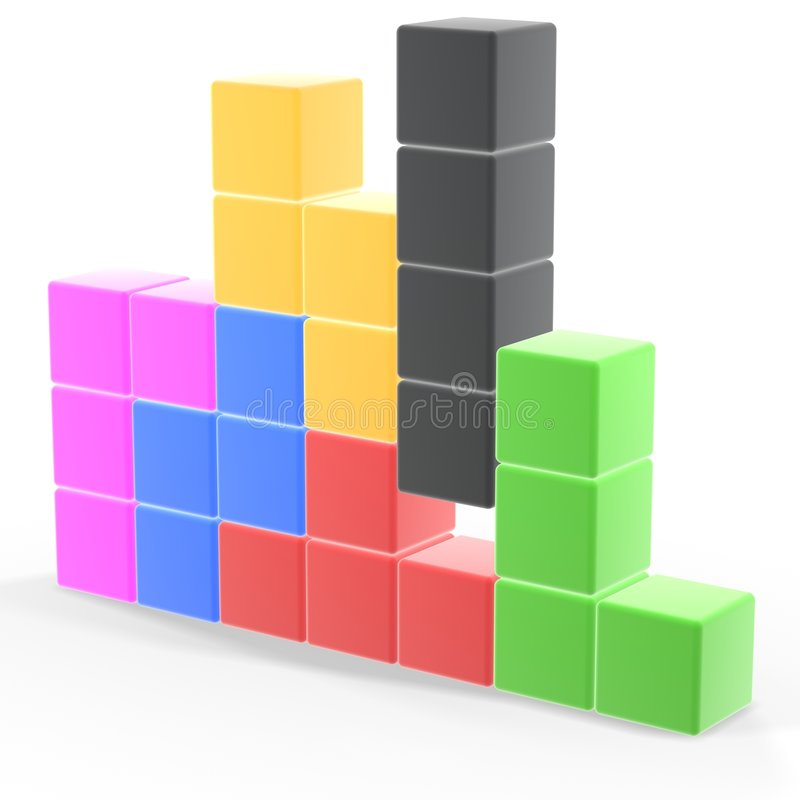 Classic tetris game. Pieces fit together stock illustration