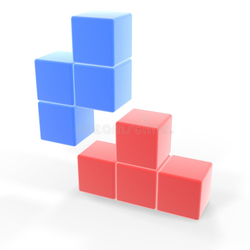 Classic tetris game. Two pieces fit together stock illustration