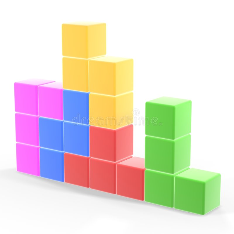 Classic tetris game. Pieces fit together vector illustration