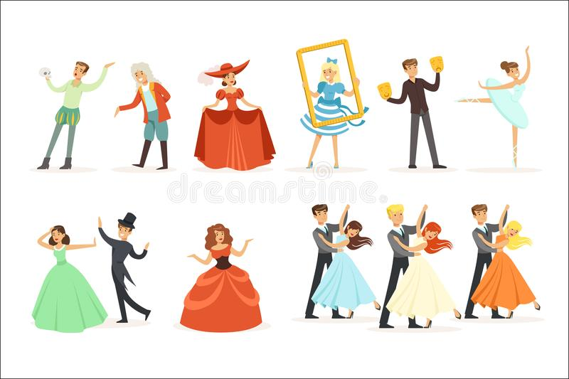Classic Theater And Artistic Theatrical Performances Series Of Illustrations With Opera, Ballet And Drama Performers On. Stage. Actors, Singers And Dancers royalty free illustration