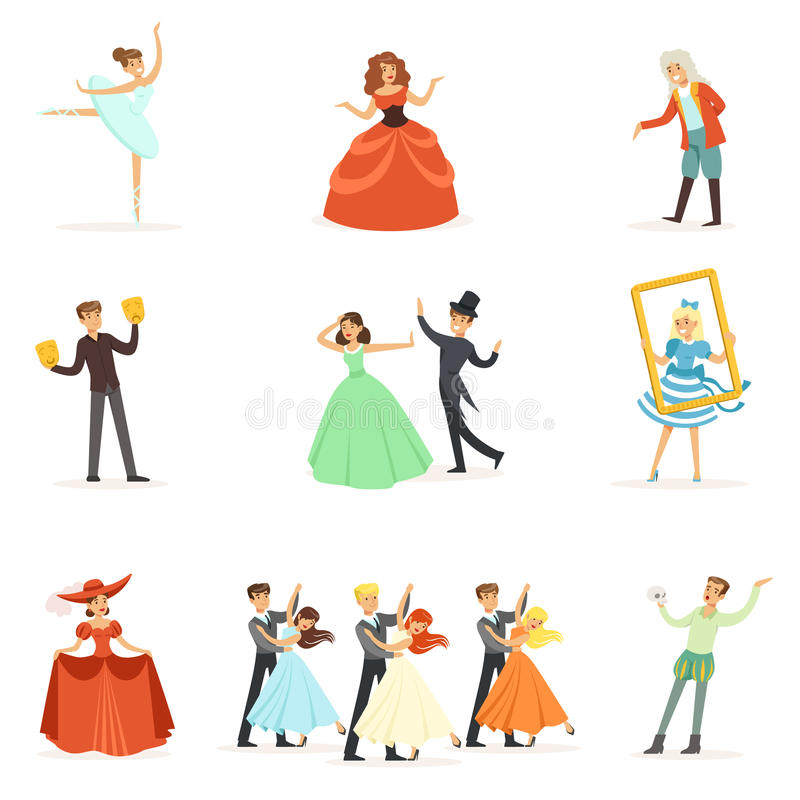 Classic Theater And Artistic Theatrical Performances Series Of Illustrations With Opera, Ballet And Drama Performers On. Stage. Actors, Singers And Dancers vector illustration