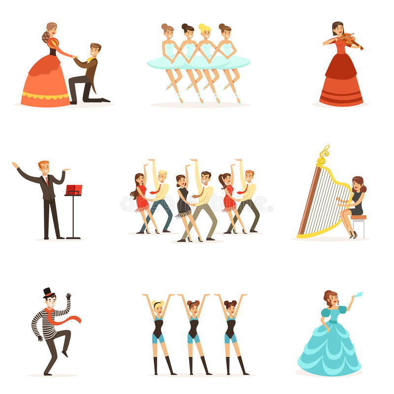 Classic Theater And Artistic Theatrical Performances Set Of Illustrations With Opera, Ballet And Drama Performers On. Stage. Actors, Singers And Dancers stock illustration