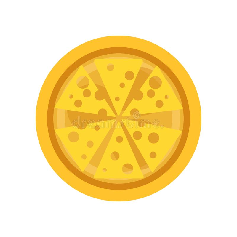 Classic thin crust pizza with slices of delicious cheese. Traditional Italian food. flat vector design for royalty free illustration