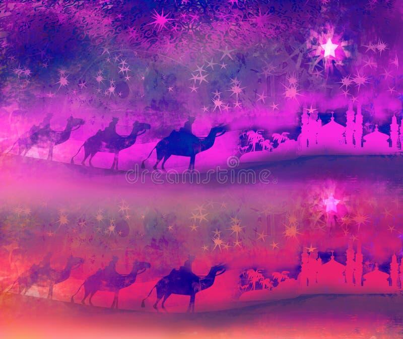 Classic three magic scene and shining star of Bethlehem royalty free stock photos