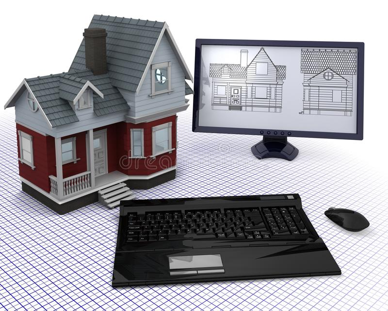 Download Classic Timber House With Computer And Blueprints Stock Illustration - Illustration: 16834605