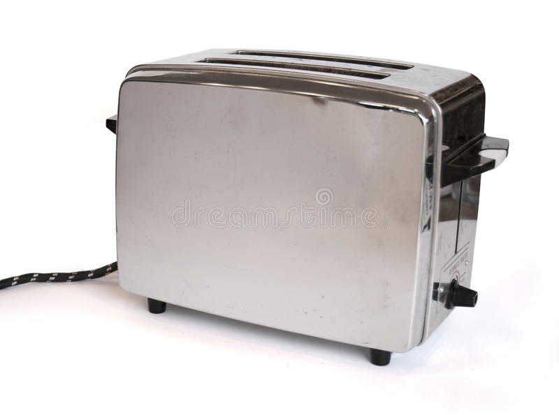 Classic toaster. A classic toaster from the sixties on a white background stock photography