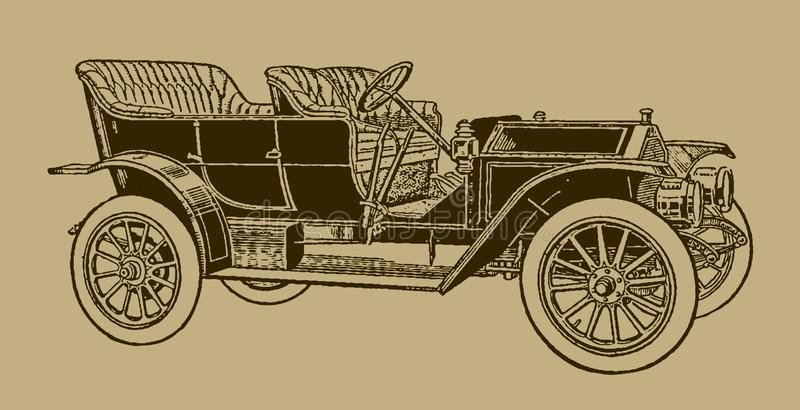 Classic touring car in quarter front view. Illustration after a lithography or engraving from the early 19th century. Editable in layers stock illustration