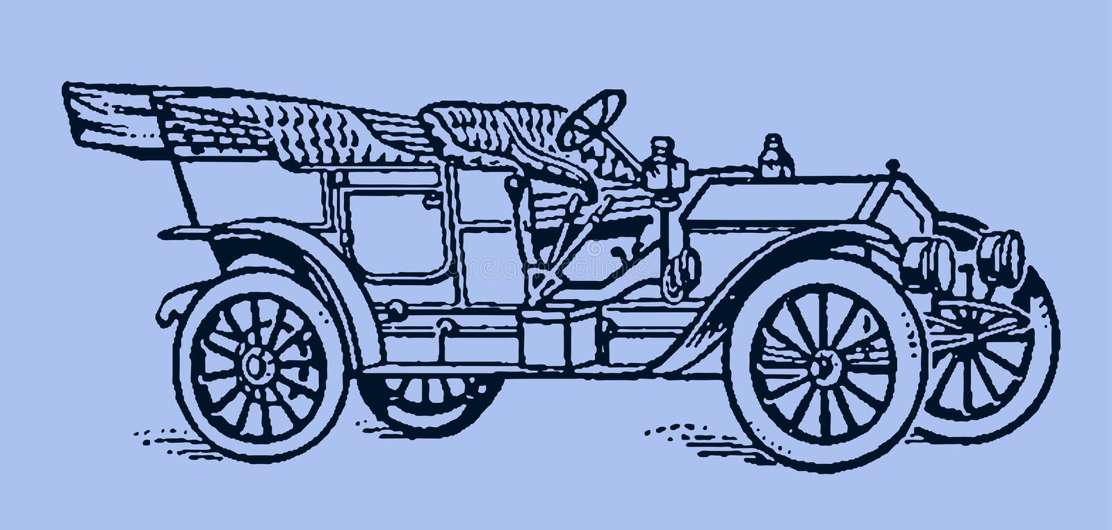 Classic touring car in quarter front view. Illustration after a lithography or engraving from the early 19th century. Editable in layers royalty free illustration
